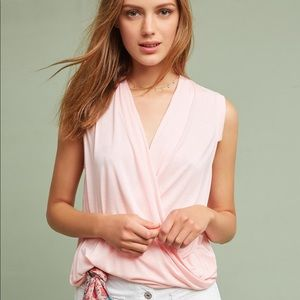 Anthropologie Akemi & Kin Pink Draped Front Tank